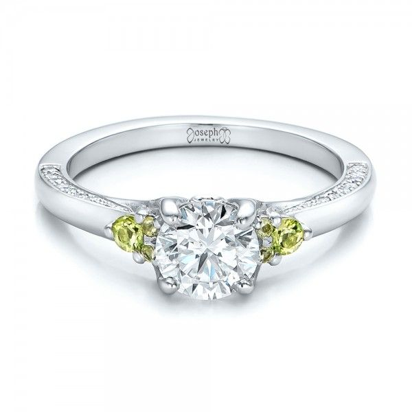 Custom Peridot and Diamond Engagement Ring | Joseph Jewelry | Bellevue | Seattle | Online | Design Your Own Ring