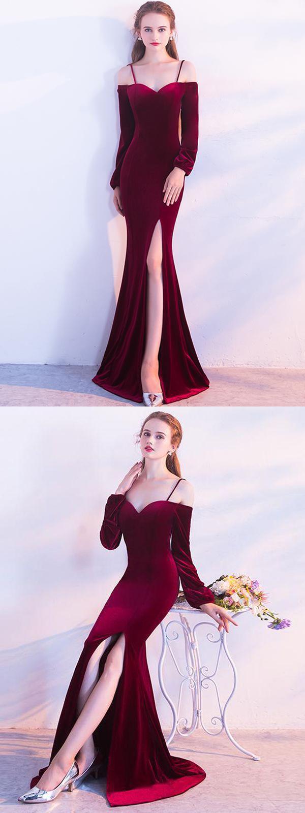 Unique sheath spaghetti straps long sleeves burgundy long prom dress