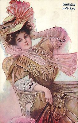 Lovely-Victorian-Lady-Satisfied-With-Life-Long-Scarf-Ready-For-Motoring-Artist