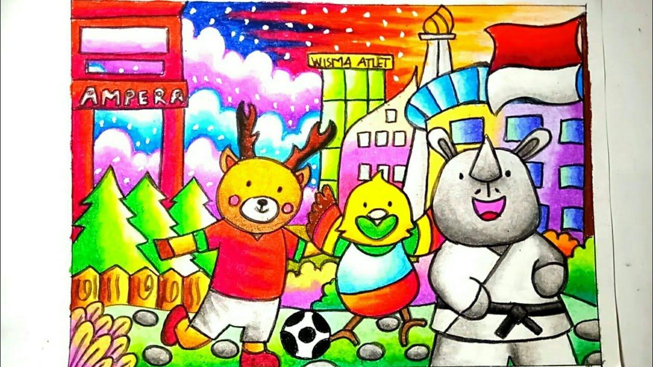 Mewarnai Asian Games 2018 Menggambar Maskot Asian Games 2018 Mewarna Dengan Gambar The Simpsons Gambar Asian Games