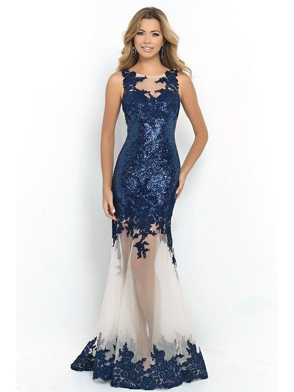 Trumpet/Mermaid Scoop Sleeveless Applique Floor-length Tulle Dresses ...