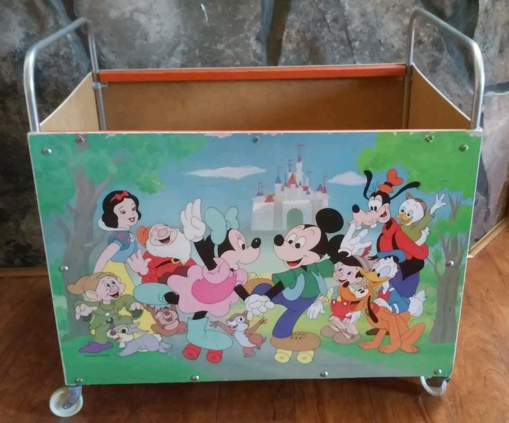 Rare Vintage Walt Disney Rolling Toy Box Cart Mickey Mouse Snow White Others Disney Toy Boxes Disney Nursery Walt Disney