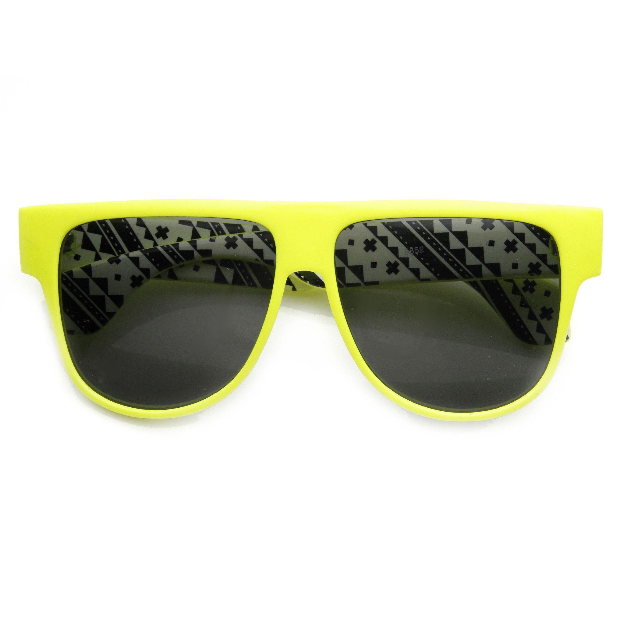 4e193af38a Retro Flat Top Swag Printed Aviator Sunglasses 9190