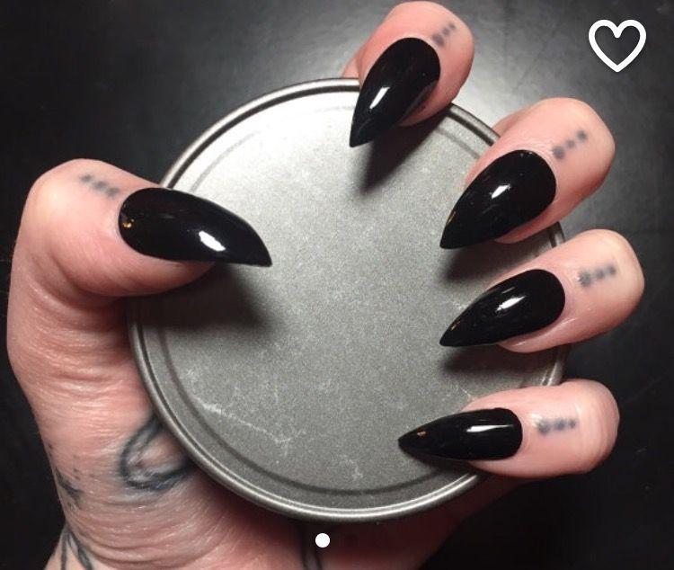 Black Stiletto Nails - Full Set   Makeup/skin and nails.   Pinterest ...