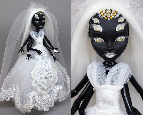 LAYAWAY for Briana! OOAK Monster High repaint doll | Spider bride with white hair #ooakmonsterhigh
