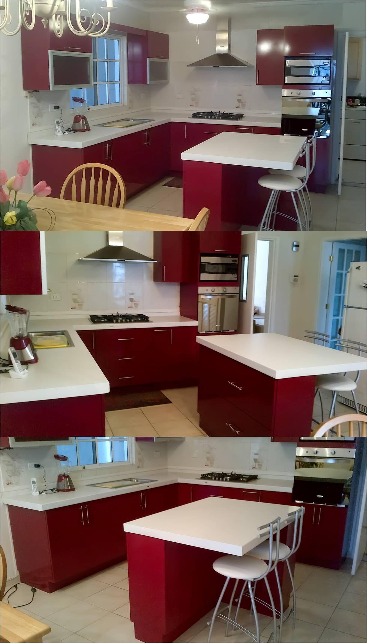 Cocina Rojo Satinado Perfiles De Aluminio Con Cristal Cubierta  ~ Cristales Decorados Para Cocinas