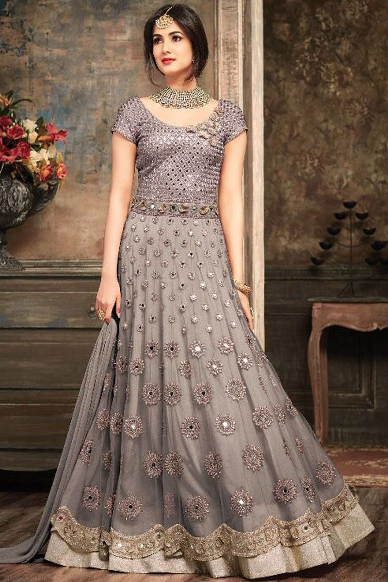 6a1a8a82f01 Grey Color Gorgeous Embroidered Net Fabric Traditional Party Wear Indian  Occasionally fashion Bridal Designer Floor Length Suit Starring Sonal  Chauhan ...