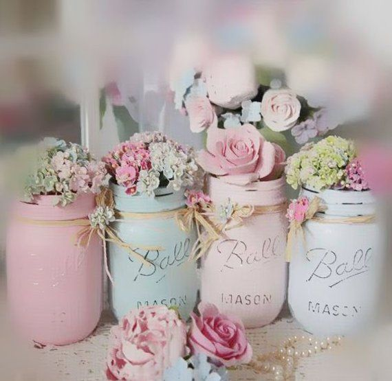 Shabby Chic Painted Mason Jar Centerpiece Decor Vase Wedding Bridal Baby Shower Birthday Party Mothers Day Hostess Gift Sweet Vintage Design