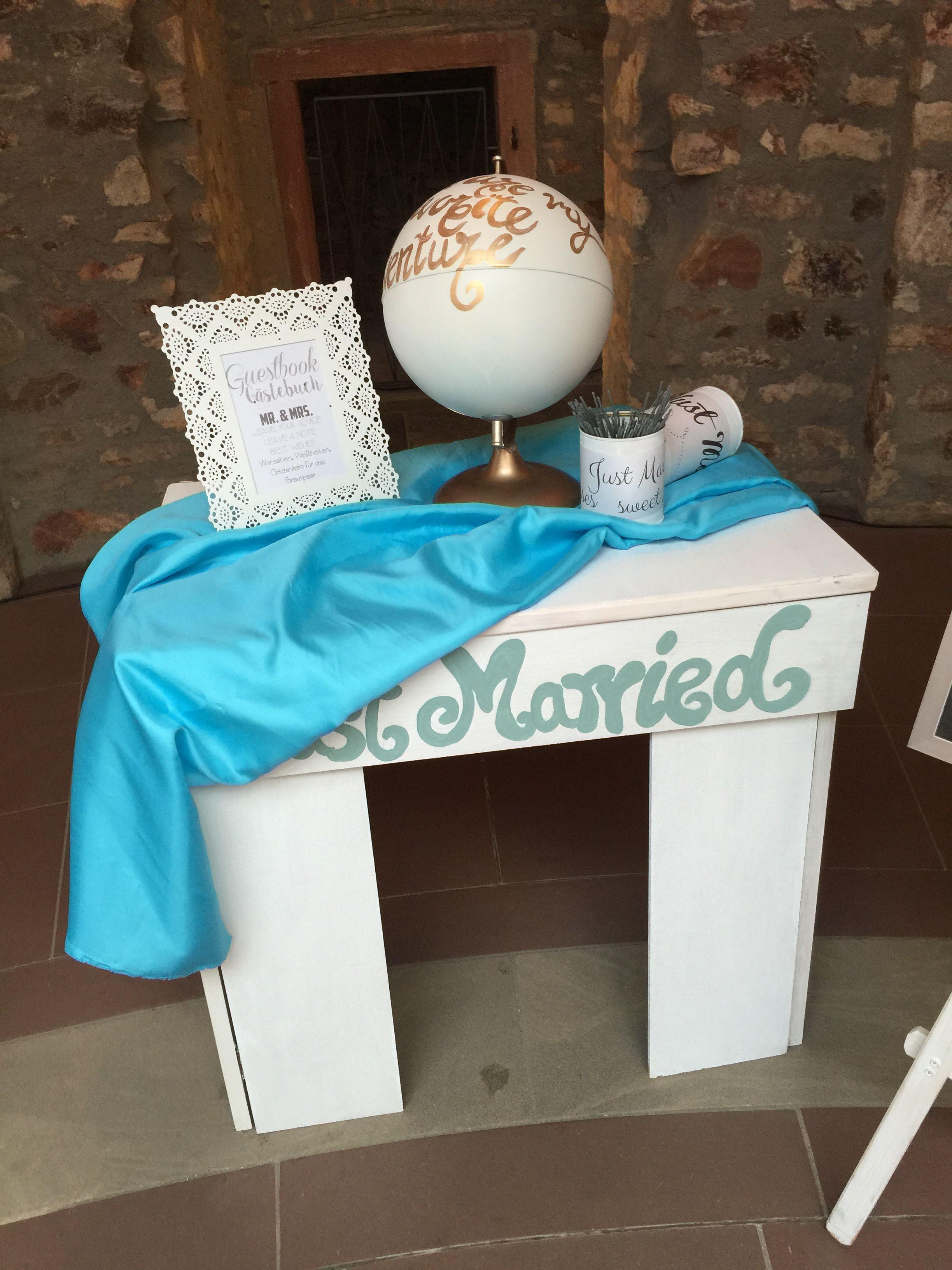 Gastebuch Tisch Mit Globus Fur Eine Hochzeit In Turkis Flairville