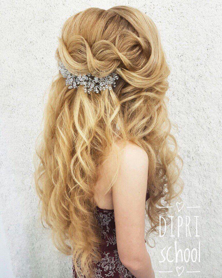 Вечерние прически с кудрями на длинный волос