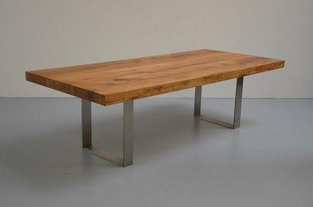 Eiche massiv Tisch 8cm Edelstahl Tudor
