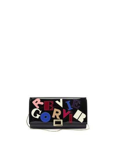 Letters Mini Buckle Pochette Bag, Black/Multi