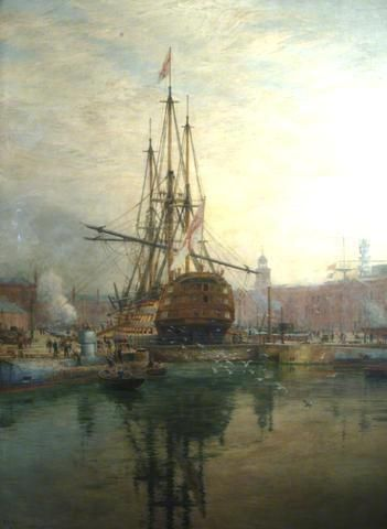 William Lionel Wyllie The Main Yard of HMS Victory Being Crossed - tall ship
