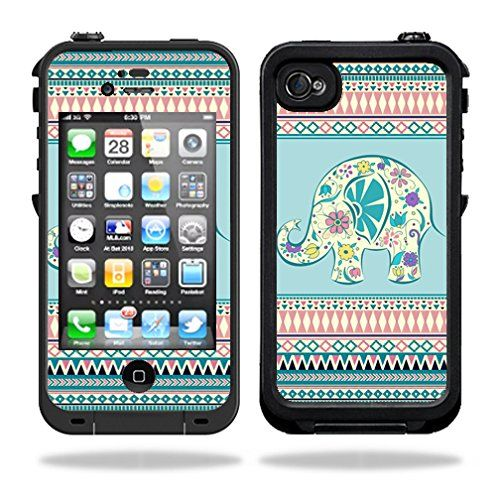 Skins Kit for Lifeproof iPhone 4 Case (skins/decals only) - Floral Elephant on Aztec pattern, Indian, tribal, hippy itsaskin