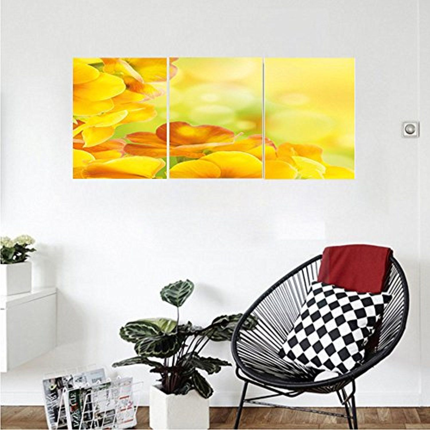 Liguo88 Custom canvas Yellow Decor Spring Themed Relaxing Yellow ...