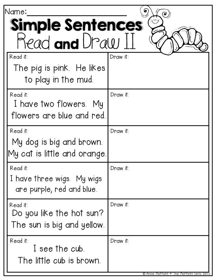 read and draw simple sentences for beginning readers school kindergarten reading. Black Bedroom Furniture Sets. Home Design Ideas
