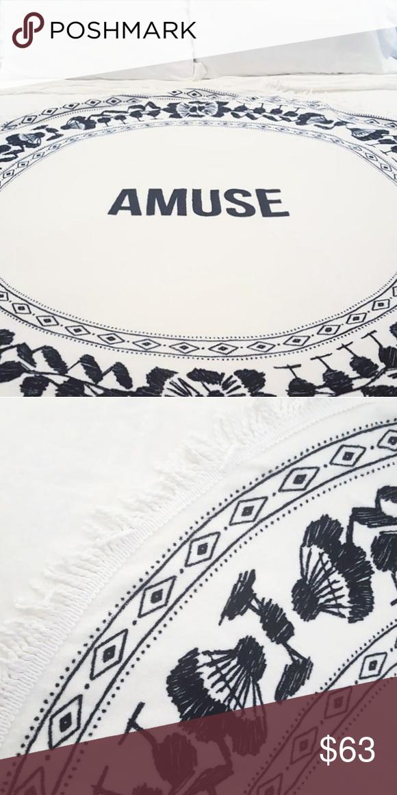 🅿️🅿️ 50.00 Amuse Society Roundie Beach Towel Fringe detail terry loop roundie beach towel Sixty inch diameter Black/White, Spanish Floral print Soft, high quality cotton terry NWT $50.00 🅿️🅿️ Amuse Society Swim Coverups
