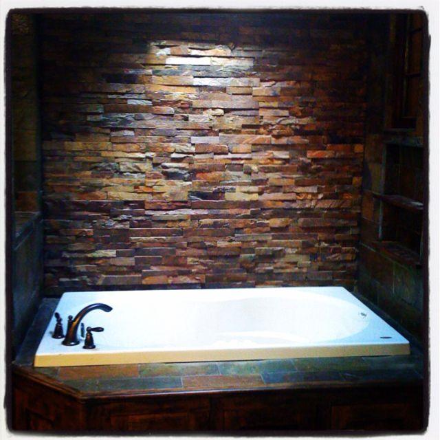 Waterfall Backsplash: My Jacuzzi Tub, Aka, My Escape! Stacked Slate Tiles Make