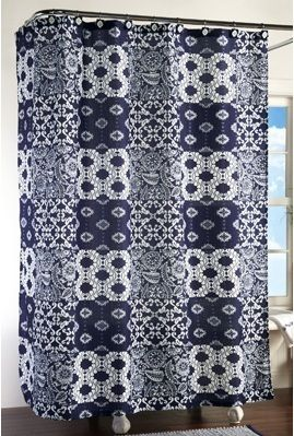 navy blue & white patchwork squares calico pattern shower