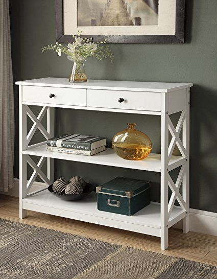 White Finish 3 Tier Console Sofa Entry Table With Shelf Two Drawers Console Furniture White Entryway Table White Console Table