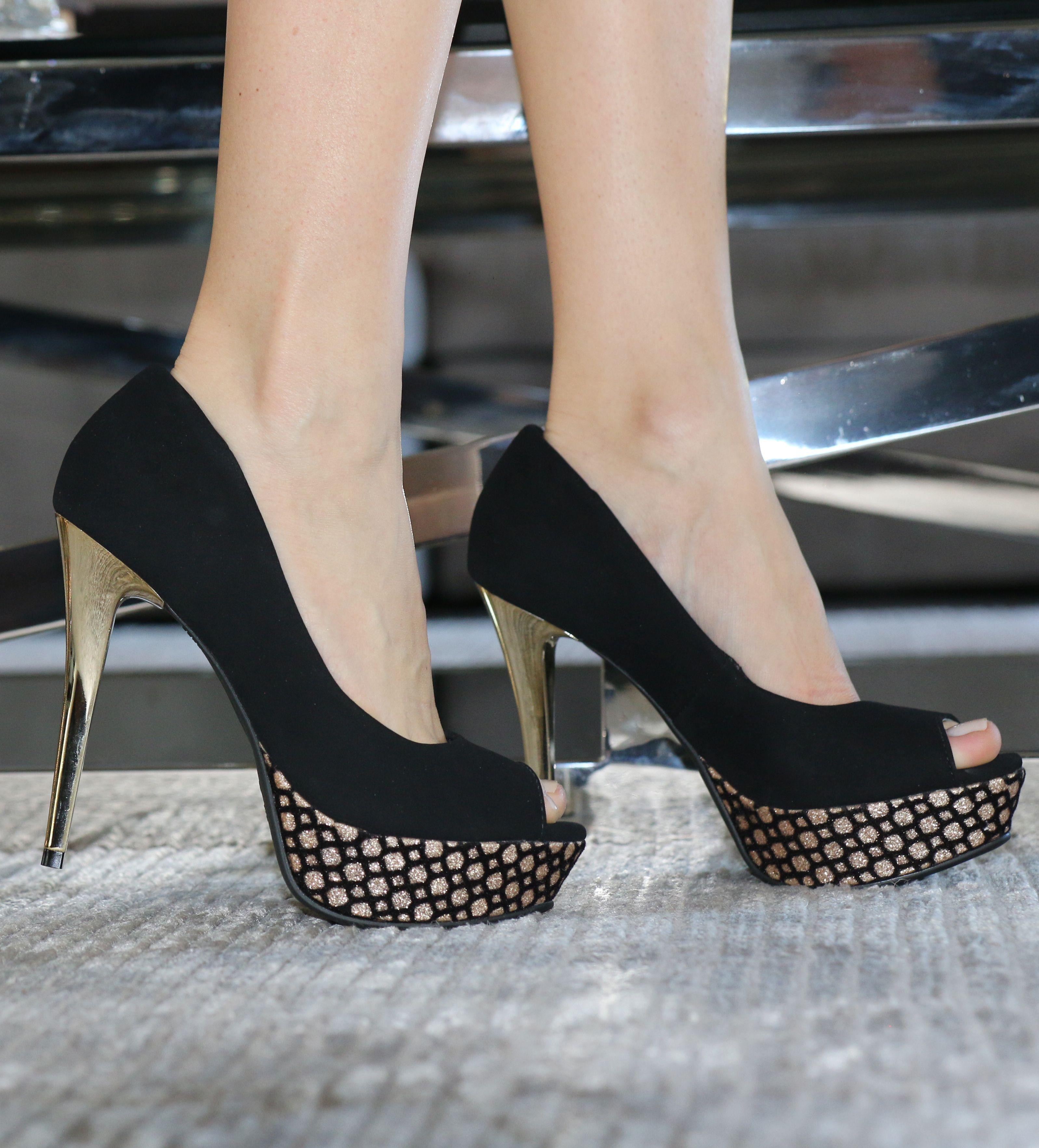 626491607 peep toe preto - salto alto - high heels - dourado - party shoes - Inverno  2015 - Ref. 15-3001