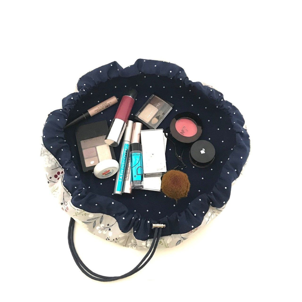 Boho Gray and Blue Cinch Makeup Bag, Washable Drawstring