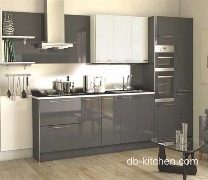 High Gloss Acrylic Grey Custom Modern Kitchen Cabinet For Prime European Style Cabinets