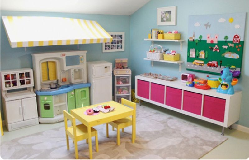 Organizing a playing nook with colorful kids kitchen set for Ikea daycare furniture