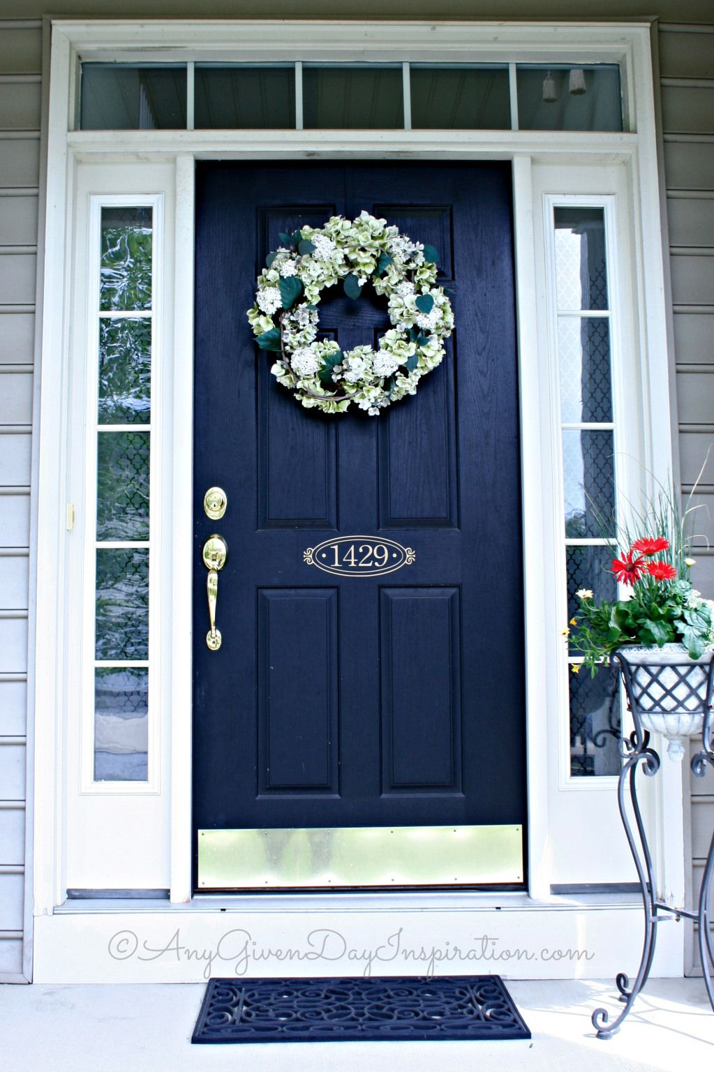 Navy front door color and address on door