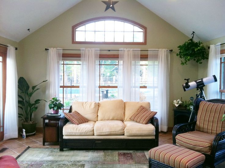 Window Treatments For A Sunroom I Like How It Gives Flowy Airy Kind Of Look Without Covering Up The View