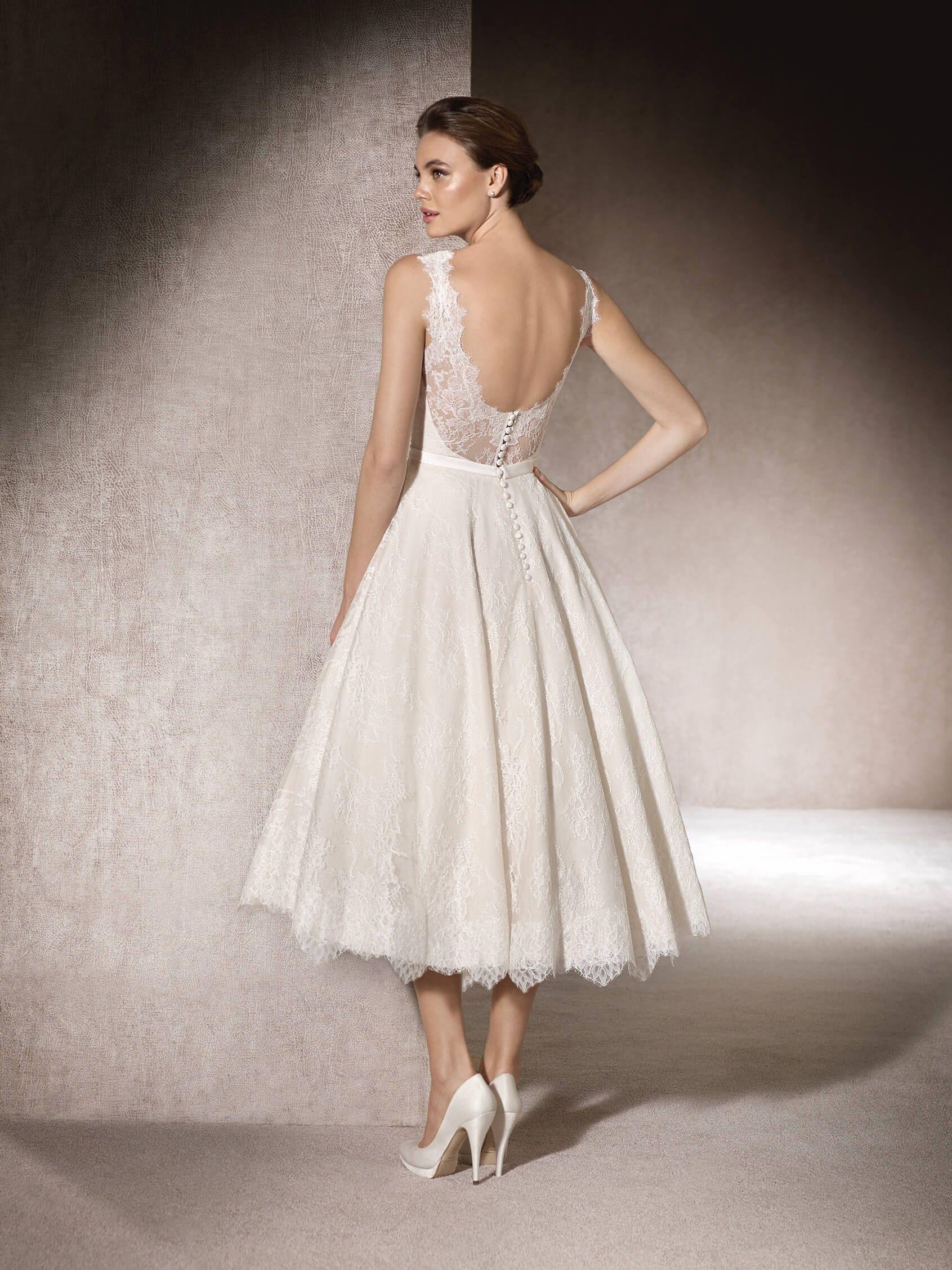 MICOL - Flared tea length wedding dress in Chantilly | St. Patrick ...