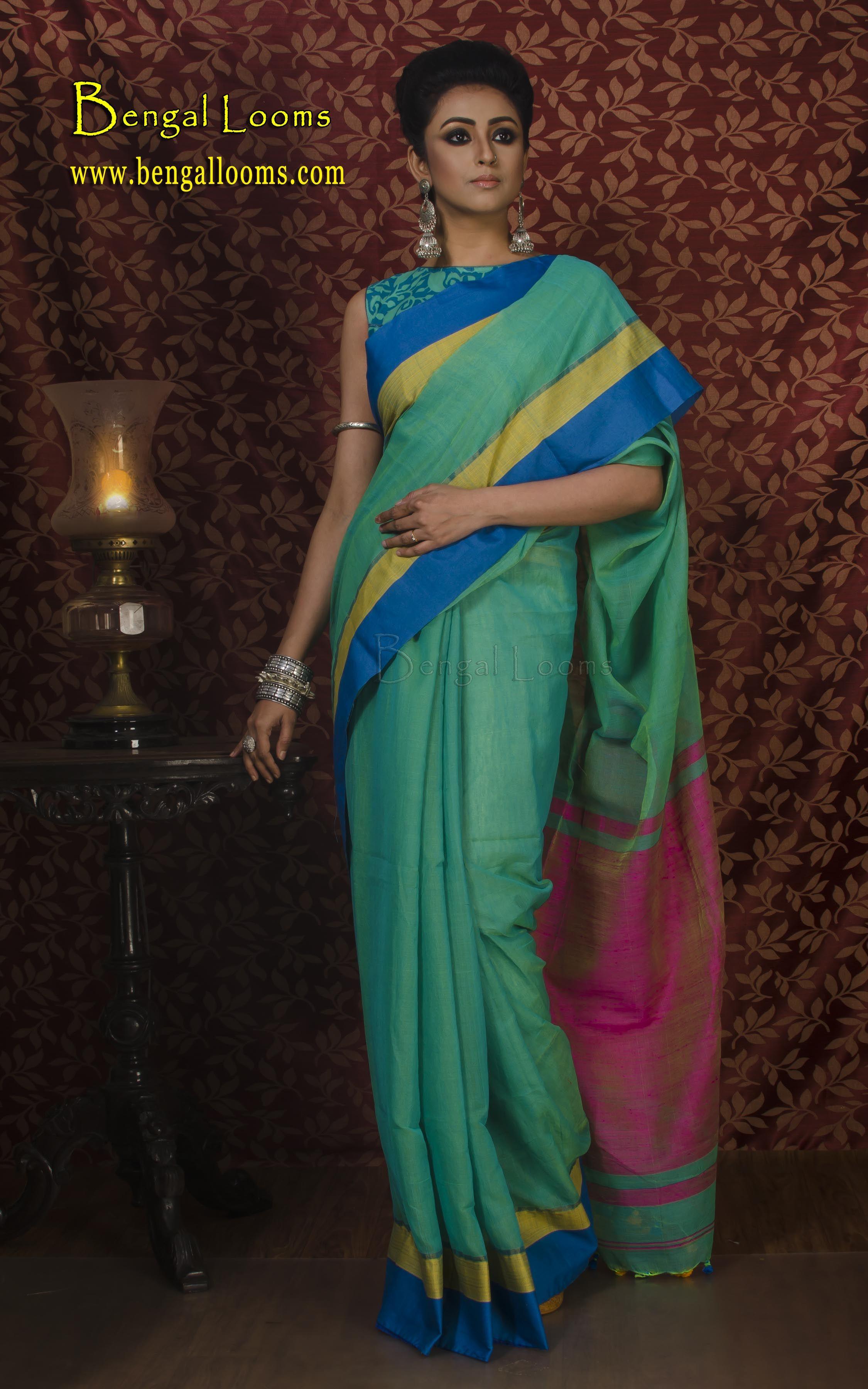 Khadi Soft Cotton Saree in Green and Rani Saree, Indian