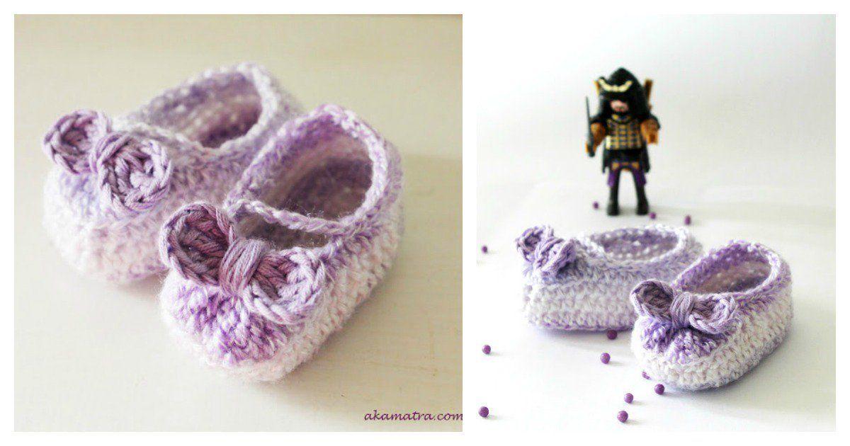 Cute Crochet Baby Girl Bow Booties Free Pattern