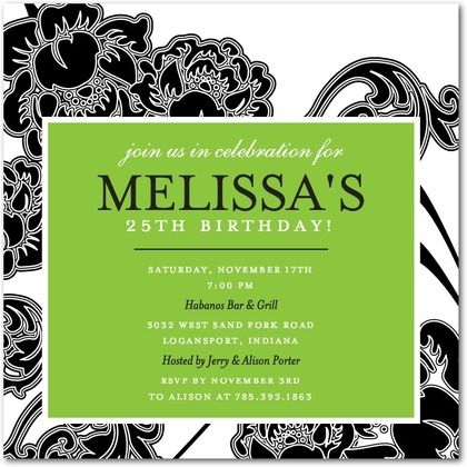 adult birthday party invitations - fancy flowers by tiny prints, Birthday invitations
