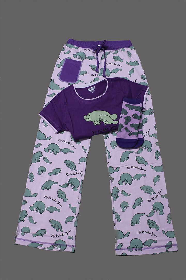 You are going to love this adorable pajama set! The set comes with a manatee pajama shirt, a pair of long pajama pants, and a pair of manatee socks. All items are made from 100% cotton. Save money by buying as a set in junior sizes S (3-5), M (7-9), L (11-13), and XL (15-17).  Socks come one size only, (9-11).