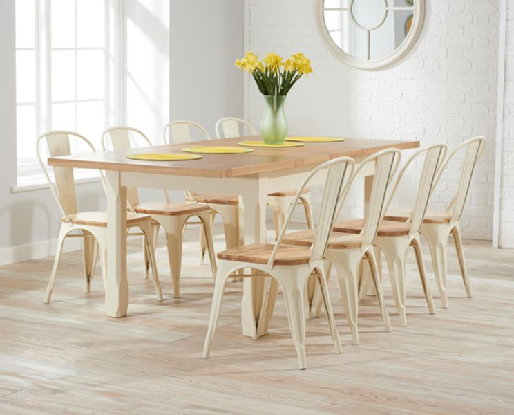 Buy The Somerset Oak And Cream Extending Dining Table With Xavier Tolix Industrial Style 8 Chairs At Furniture Superstore