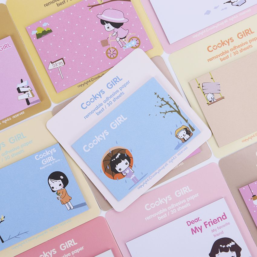 4PCS Kawaii Girl Series Memo Pads Post It Stickers Sticky Notes