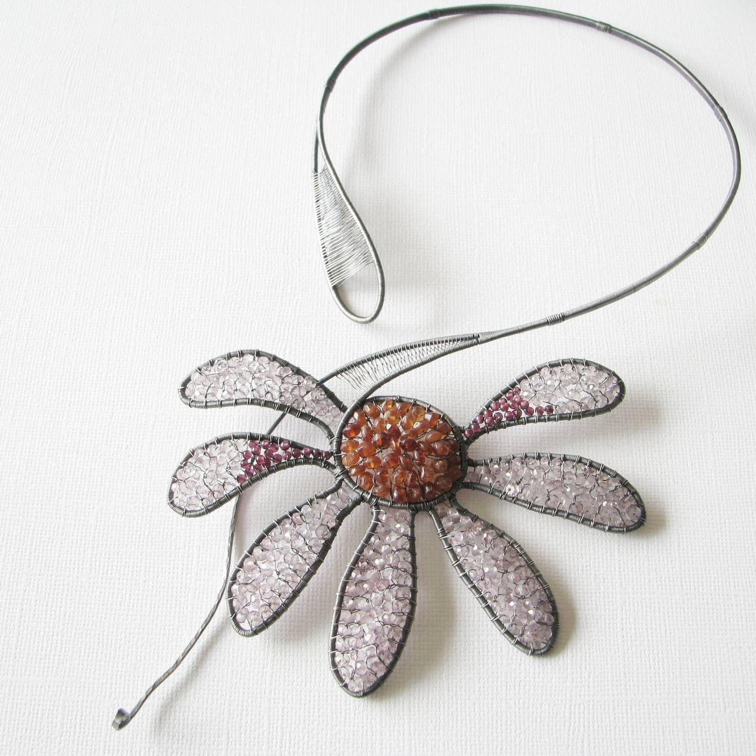 Wire Jewelry Pendants | Echinacea Purpurea, unique wire wrapped ...