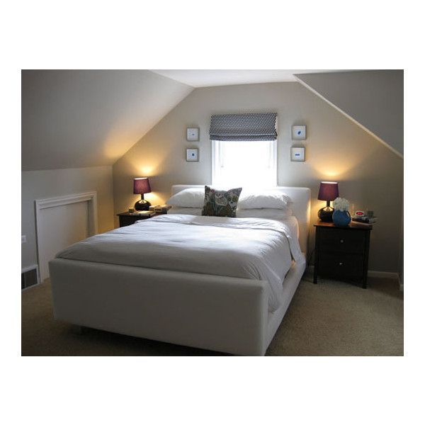 small bedrooms with low slanted ceilings | Sloped ceiling bedroom layout  found on Polyvore