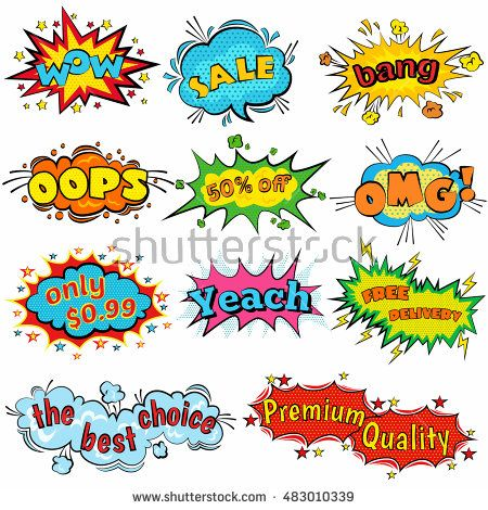 Comic Sound Effects In Pop Art Vector Style Sound Bubble Speech With Word And Comic Cartoon Expression Sounds I Comic Sound Effects Pop Art Cartoon Expression