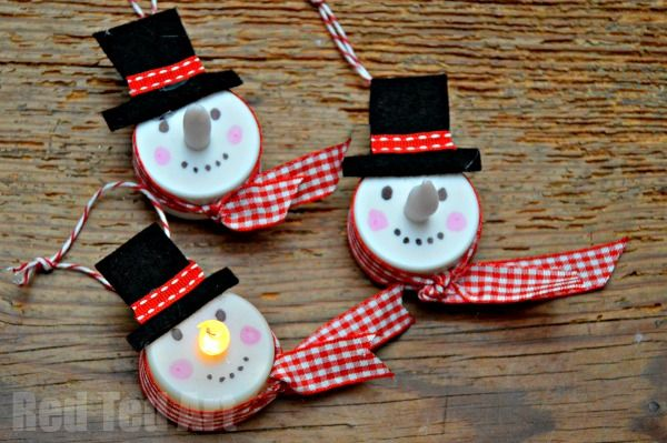 Tea Light Snowman Ornament Snowman crafts, Snowman and Christmas tree