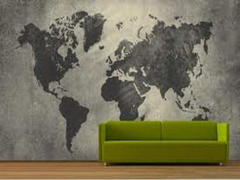 Black grey world map wallpaper for walls need want pinterest black grey world map wallpaper for walls gumiabroncs Choice Image