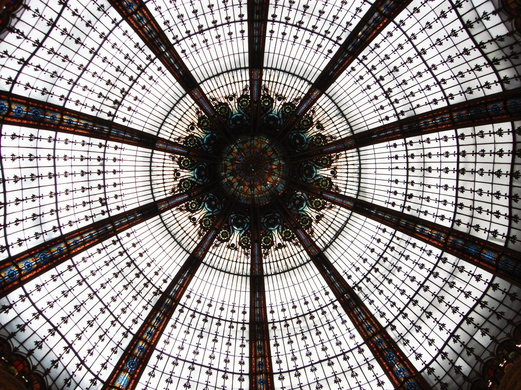 looking up at the dome, Galeries Lafayette, Paris (photo taken 2007)