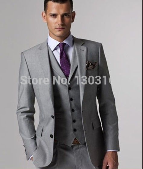 2017 Slim Fit Groom Tuxedos Light Grey Side Slit Best Man Suit Wedding Groomsman Men
