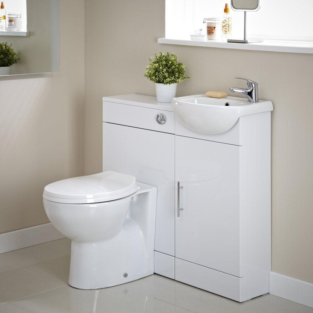 Bathroom En Suite Vanity Unit One Tap Hole Basin Sink and Toilet WC ...