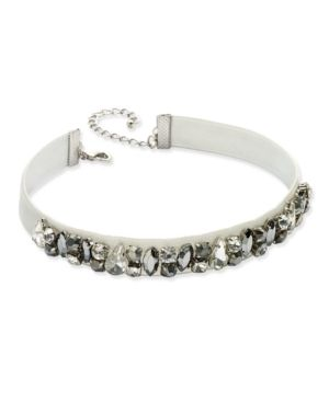 963bc003517 INC Silver-Tone Clear & Hematite Crystal Light Gray Velvet Choker Necklace,  Created for Macy's - Gray