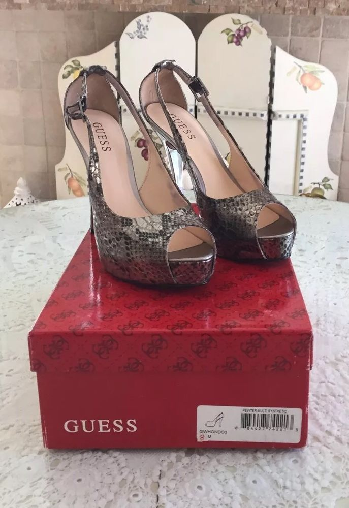 f88f8a7d82a NWB Guess Sexy Snake Skin Pewter Hondo Style Peep Toe Heels Size 8 M ...