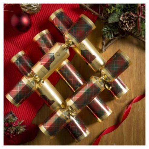 Tartan Christmas Crackers, 12 pack