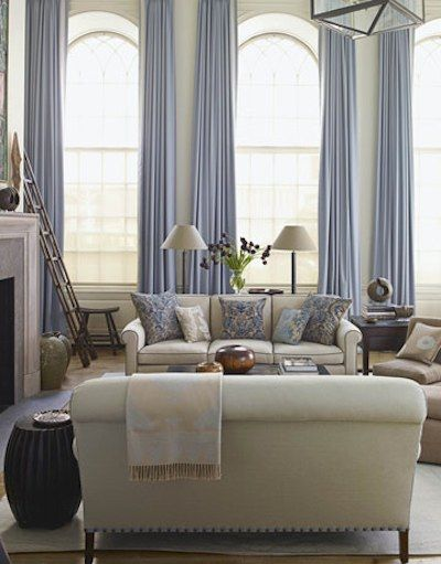salon beige et bleu Décoration -salon et salle a manger
