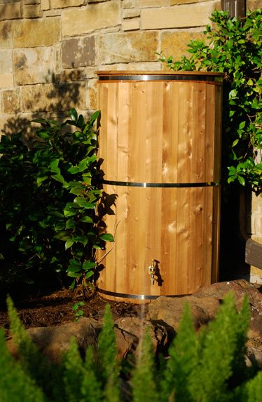 Eco Rain Barrel Round 249 99 Made From Canada Spruce With A Solid Brass Tap Universal Down Spout Connection Kit Include Rain Barrel Outdoor Fire Pit Outdoor